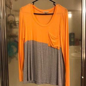 Orange and Gray Bordeaux Long Sleeve Tee Shirt